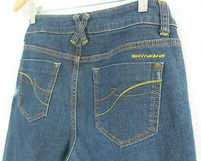 DKNY Jeans Womens Cropped Jeans in Dark Blue Colour - Size 8