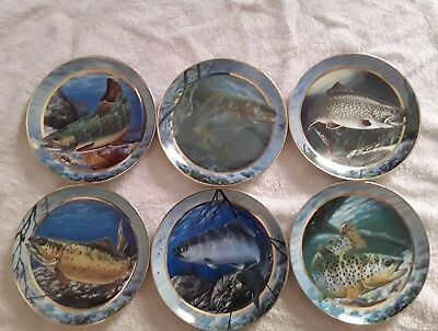 THE FRANKLIN MINT TROUT X6  Plates Display in Very Good Condition