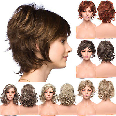 Fashion Wig Curly Synthetic Full Wigs Brown Blonde Ombre Two Tone Hair Costume
