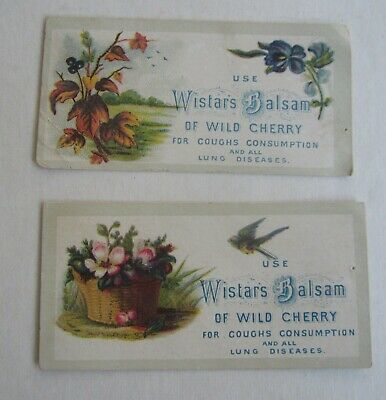2 Old Antique 1880's - Wistar's Balsam of Wild Cherry - Medicinal TRADE CARDS