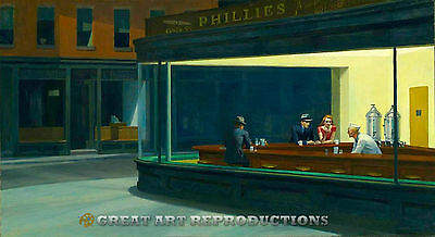 """Nighthawks"", Edward Hopper, Reproduction in Oil, 36""x20"""