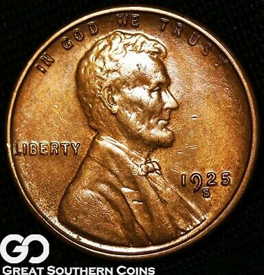 1925-S Lincoln Cent Wheat Penny, Red Brown, Gem BU++ Better Date