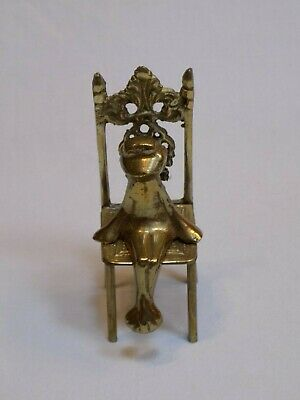 Brass Frog Sitting on a Chair Throne Prince Decorative Figure Statue Figurine