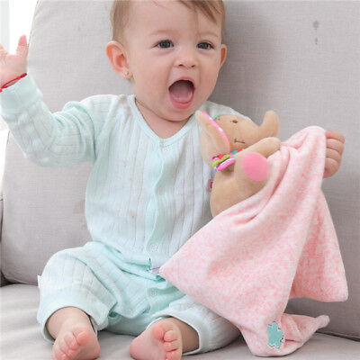 Baby Infant Handkerchief Comforter Toys Soothing Towel Blankets with Teether B