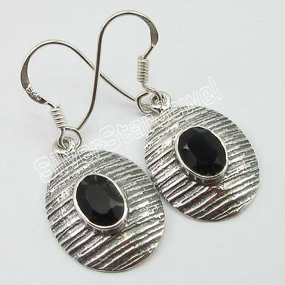 925 Stamped Sterling Silver BLACK ONYX Antique Style Earrings 1.3""