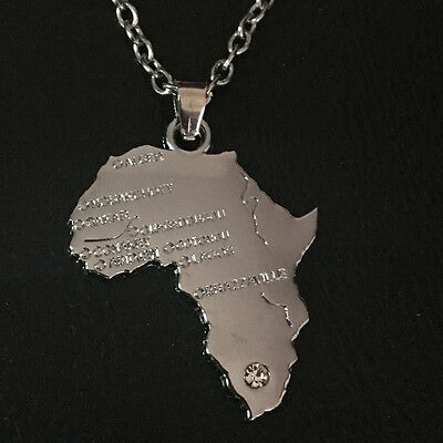 Africa Map Pendant Necklace African Country Chain Jewellery Silver Tone 1pcs ne