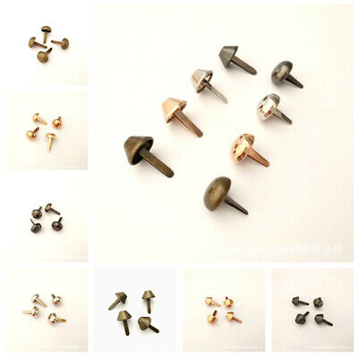 100Pcs 12mm Metal Studs Pierced Feet Rivets Purse Punk Bag DIY Handbag Accessory