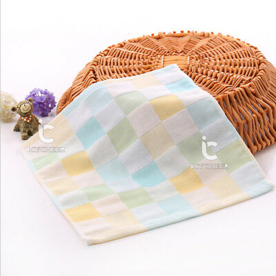 Baby Feeding Towel 2Layers Handkerchief Face Bathing Cotton Blue Color 28*28cm