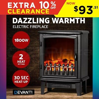 Devanti 1800W Electric Fireplace Wood Heater Portable Fire Log Flame Effect Heat