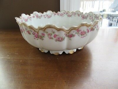 Antique Theodore Haviland LIMOGES France Footed DOUBLE GOLD SERVING BOWL 9""