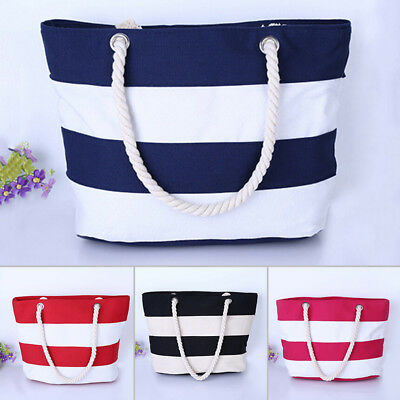 Beach Bag Womens Girls Large Striped Summer Shoulder Shopper Tote Canvas Bags