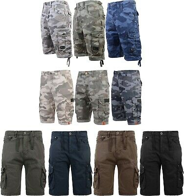 Men's Crosshatch Camo Shorts Combat Cargo Army Camouflage Gym Summer Jeans Pants
