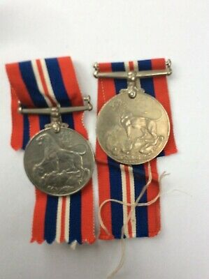WWII War Medals x 2 both full-size originals with original ribbons 99p start