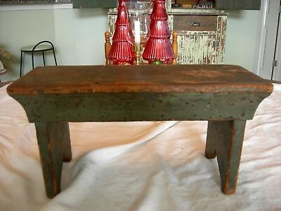 Antique Primitive Foot Stool Fabulous Old Green Paint Signed Boot Jack Sides