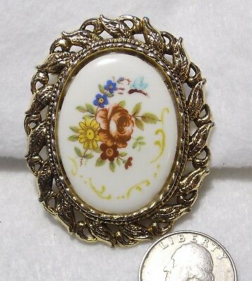 Vtg Colorful Flowers on White Porcelain Pendant/Pin/Brooch Ornate GT Frame 2.25""