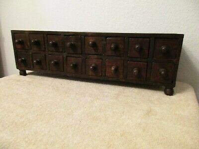 primitive hand made wood spice box/cabinet 16 drawer