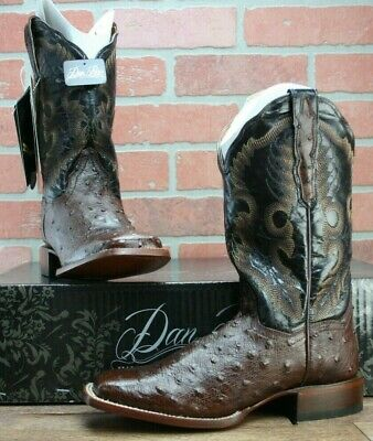 d824db27f63 DAN POST CHOCOLATE Quilled Ostrich Cowboy Western Boots Women's Square Toe  7 M
