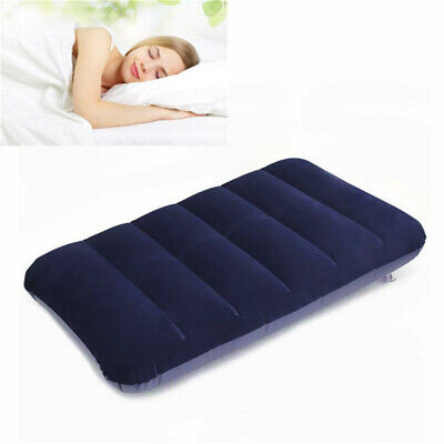 LARGE Inflatable Flocked Pillow Camping Sleeping Soft Travel Blow Up Blue New