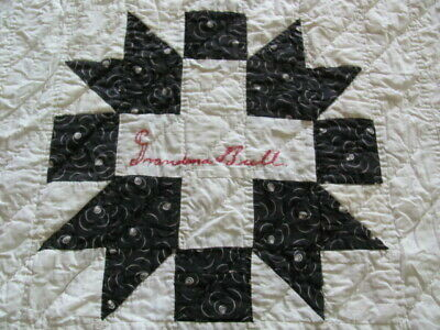 Vintage cotton autograph quilt Greek Cross pattern early 1900's hand quilted