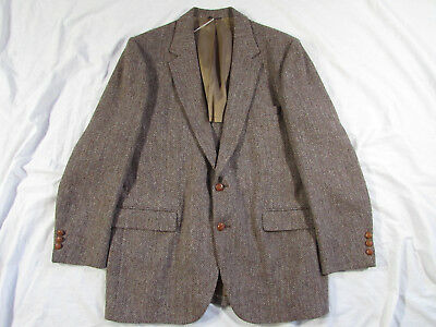 Vtg 60s 70s Eagle Clothes Harris Tweed Wool Blazer Sport Coat Jacket USA Made