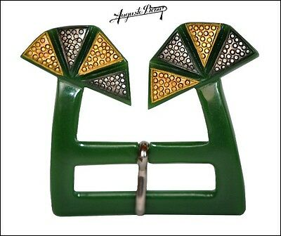 Rare Art Deco French Auguste Bonaz Galalith Belt Buckle -Green Silver Gold