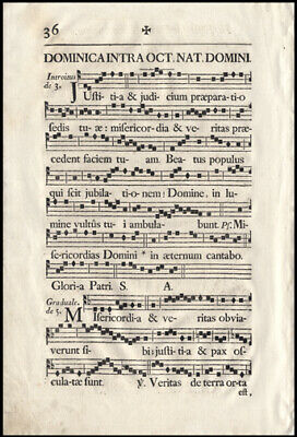 Feast of The Holy Innocents Epiphany 1751 Music Leaf Lot (5) French Antiphonal