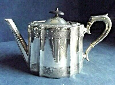 SMART Victorian ~ SILVER Plate ~ Engraved TEAPOT ~ c1890