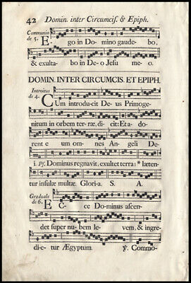 The Circumcision of Our Lord & Savior 1751 Music Leaf Lot (6) French Antiphonal
