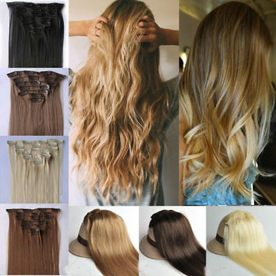 Ash pale golden dark blonde brown silver white Hair Extension Clip in feel Human