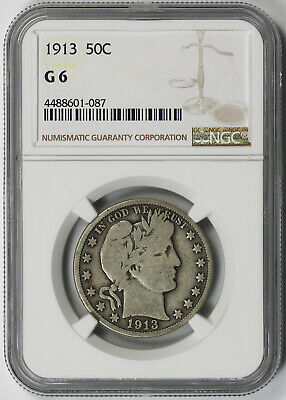 1913 Barber Half Dollar 50C Good G 6 NGC