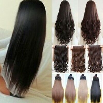 Half head clip in hair extensions curly straight one piece brown red black plum