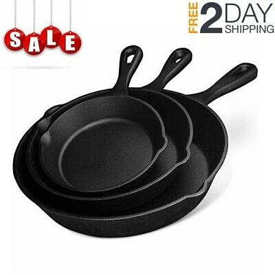 3 Piece Set Pre-Seasoned Cast Iron Skillet Stove Oven Fry Pans Pot Pan Cookware