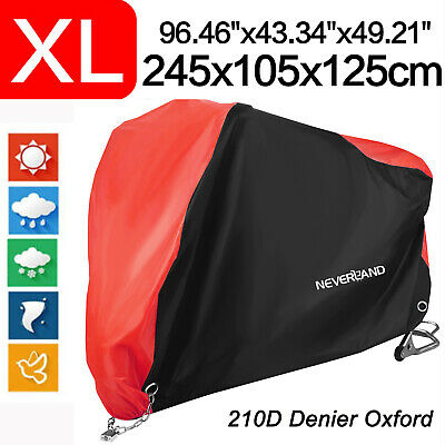 XL Red&Black Motorcycle Cover 210D Waterproof For Harley Road Touring Street