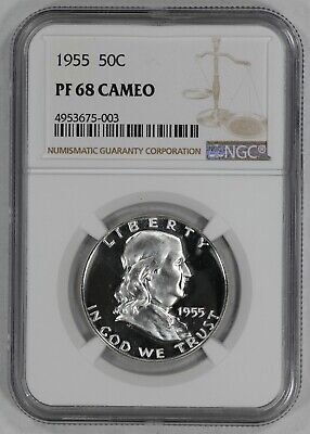 1955 Franklin Half Dollar 50C Ngc Certified Pf 68 Cam Proof Cameo (003)