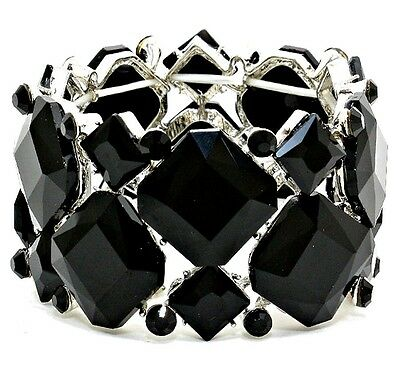 acc0a3775 Jet Black Crystal Stretch Bracelet Elegant Prom Formal Evening Jewelry
