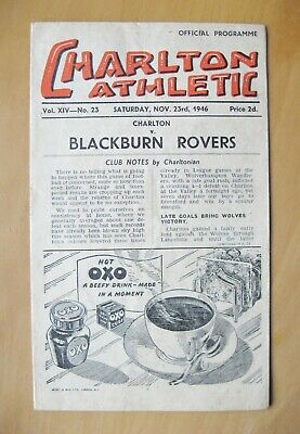CHARLTON ATHLETIC v BLACKBURN ROVERS 1946/1947 *VG Condition Football Programme*