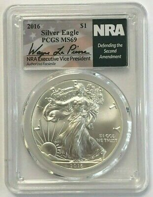 PCGS MS69 2016 American Silver Eagle $1 NRA Defending the 2nd Amendment Label