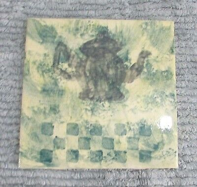 "Hand Painted Old 1990's Blue Green Teapot 6"" Square Ceramic Tile Trivet FREE S/H"