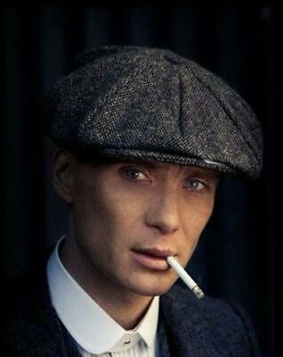 Tommy Shelby Peaky Blinders Style Newsboy Cap Grey Herringbone Wool Quality