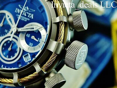 NEW Invicta Mens 50mm BOLT Swiss Chronograph Blue Dial Gold Cable SS Watch