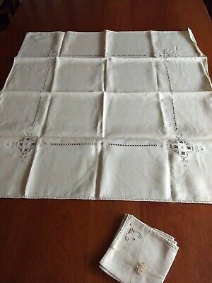 Vintage Linen ECRU ITALIAN HAND EMBROIDERED TABLECLOTH 34 Square w/NAPKINS
