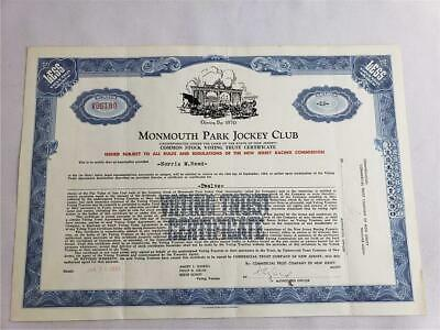 = Monmouth Park Jockey Club Less Than 100 Shares Common Stock Certificate 1961