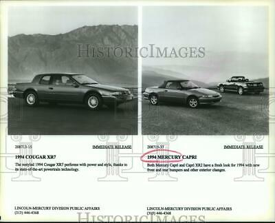 1993 press photo 1994 mercury capri xr2 and cougar xr7 parked at a mountain  view