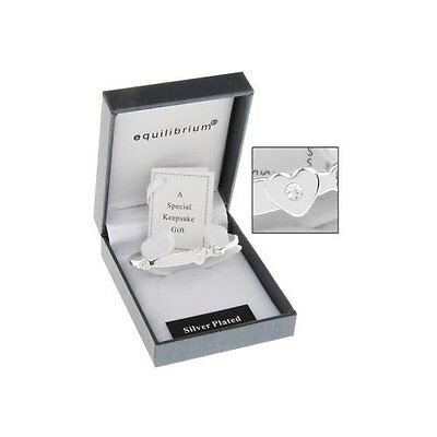 Equilibrium Silver Plated Heart Detail Baby Bangle Christening Gift