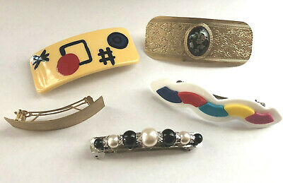 Lot 5 Vintage Hair Barrettes Clips Plastic & Metal Made in France Haute Couture