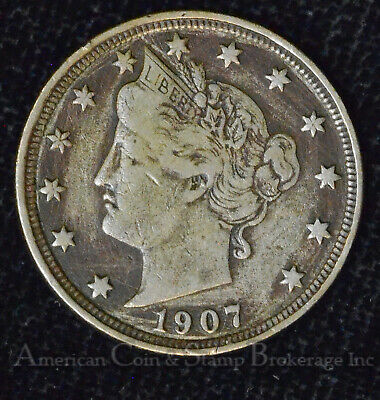 5c Nickel Five Cents 1907 VF EF XF Liberty Head V Nickel 5 Five Cents