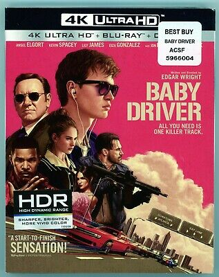Baby Driver (4K Ultra HD Blu-ray, Digital, 2017) NEW with slipcover!