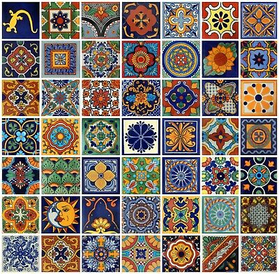 100 Pieces Mexican Talavera Hand Painted Ceramic Tiles Mix 4' 50 D