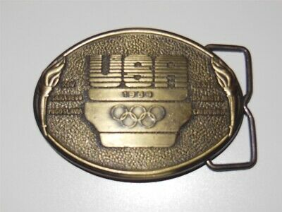 vintage 80s US OLYMPICS 1984 USA BELT BUCKLE OLYMPIC COMMITTEE MADE IN USA