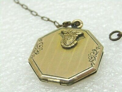 """Antique G.F. Hexagon Locket on 14"""" Chain, Late 1800's, Early 1900's,"""